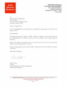 Assam Flood Relief Mission 2014 Acknowlegement